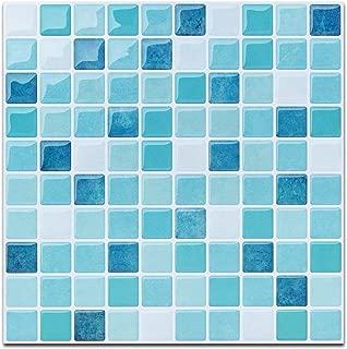 Blue Peel and Stick Tile for Kitchen Backsplash-Mist Colored Decorative Tile Stickers Peel and Stick- Stick on Tiles for Backsplash (4 Sheets)