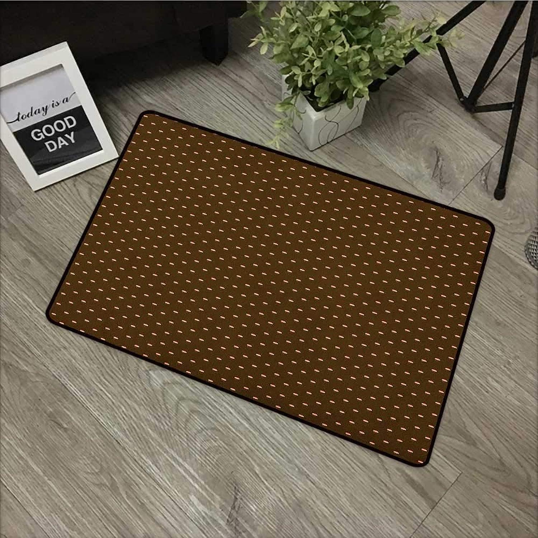 Bedroom Door mat W35 x L59 INCH Abstract,Cupcake Pattern with Hearts on Top Sweets Dark Toned Brown Background, Brown Beige Dark Coral Non-Slip Door Mat Carpet