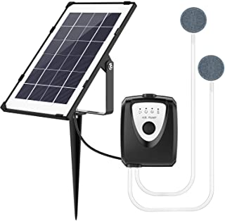 Solar Water Air Pump Fish Tank Oxygenator,Outdoor Pool Pond Air Oxygen Pump Aerator with Aquarium Oxygen Pipe and Air Bubb...