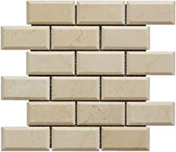 Crema Marfil Marble 2 X 4 Brick Mosaic Tile, Polished & Beveled - 6 X 6 Sample