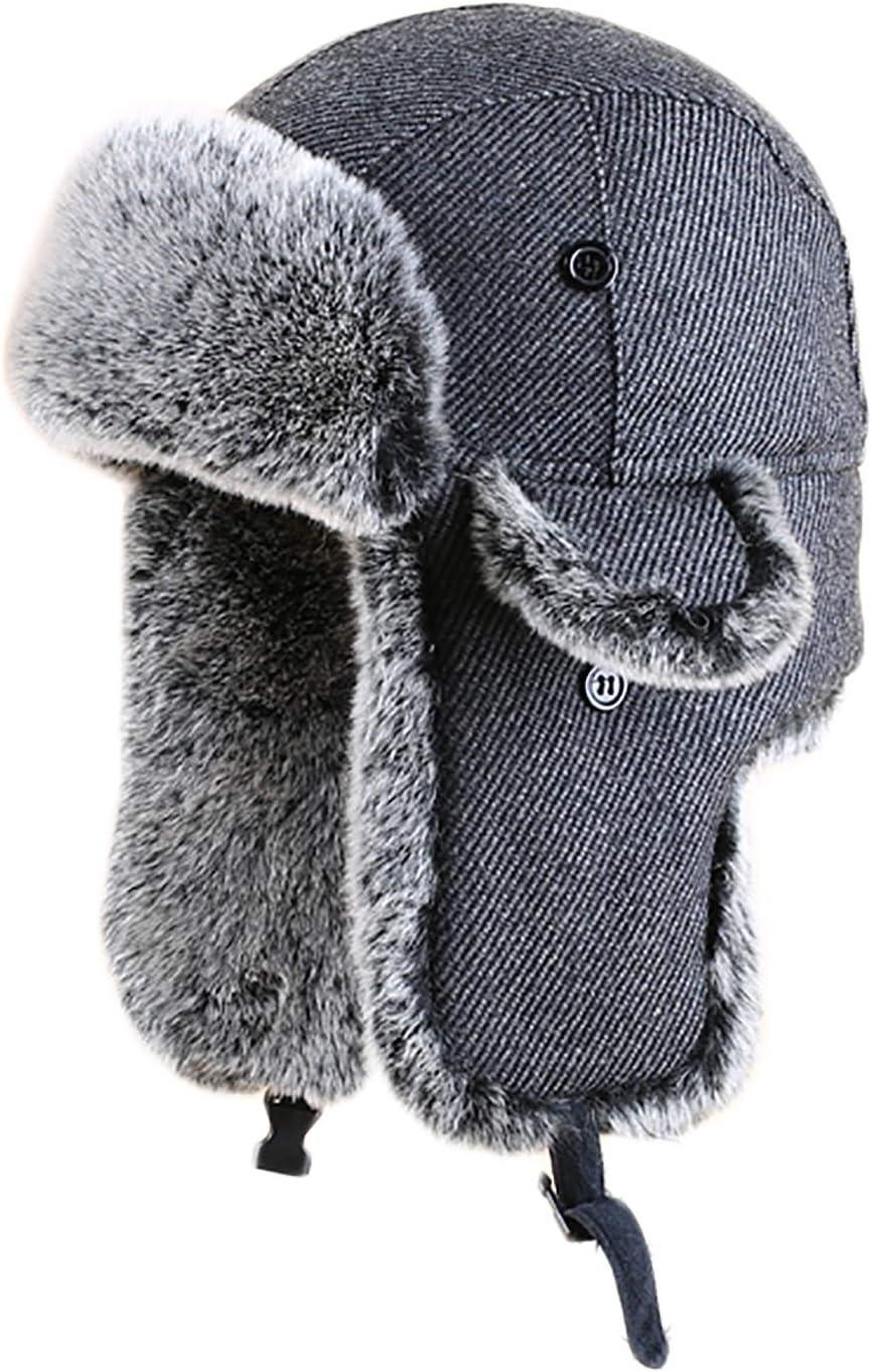 PANGOIE Chapka Chapka Homme Aviateur Casquette Chapeau Bomber avec Oreille Rabat Garder Au Chaud Hiver Anti-Vent 56-62cm Color : Black, Size : 56