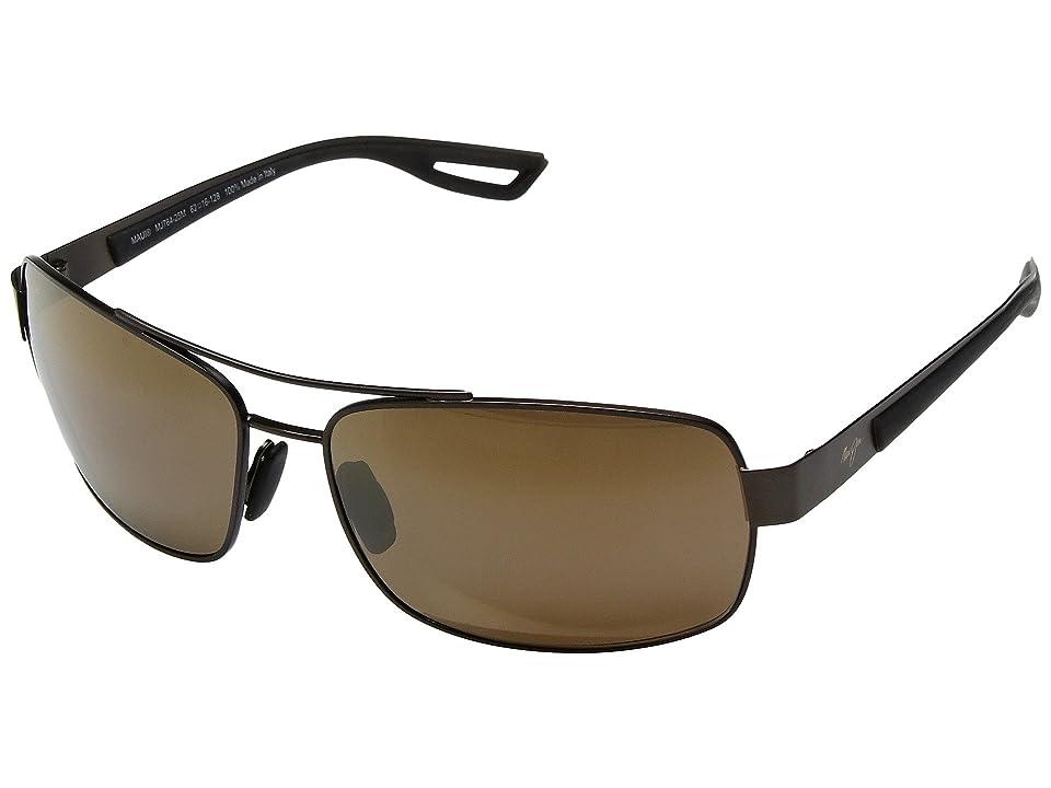Maui Jim Ola (Brushed Matte Brown/Dark Translucent Brown Rubber/HCL Bronze) Athletic Performance Sport Sunglasses