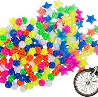 YuCool 180 Pcs Assorted Colors Bike Wheel Spoke Decorations, Bicycle Plastic Clip Round Beads and Star Wheel Spokes Access...