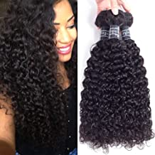 Amella Hair Brazilian Curly Hair Weave 3 Bundles (14 16 18,300g) Brazilian Virgin Kinky Curly Human Hair Weave 8A 100% Unprocessed Hair Weft Extensions Natural Black Color