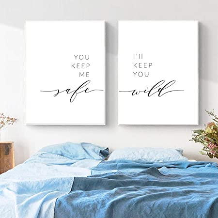 Amazon Com Xuxiaojie You Keep Me Safe I Ll Keep You Wild Prints Bedroom Wall Art Canvas Painting Nordic Poster Above Bed Wall Pictures Decor 40x60cmx2pcs Frameless Posters Prints
