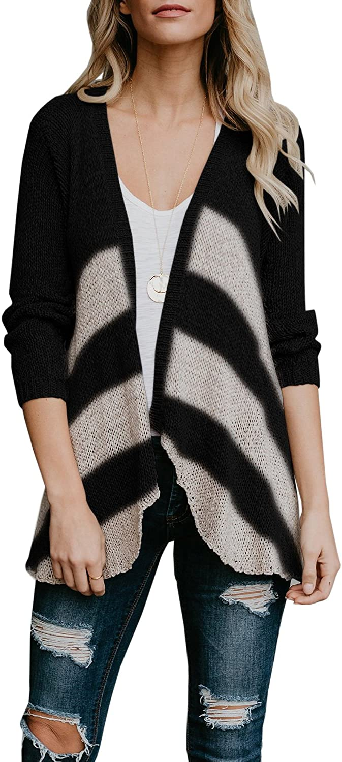 Yiyan Womens Open Front Cardigans Long Sleeve Striped Draped Lightweight Knit Sweaters