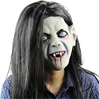 Halloween Horror Party Cosplay Mask, Latex Creepy Scary Halloween Toothy Zombie Ghost Mask Scary Emulsion Skin with Hair