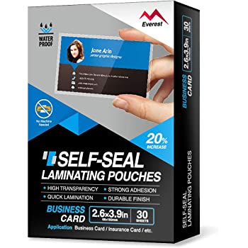 Everest Self Adhesive Laminating Pouches, Self Sealing Pouches for Cards, Waterproof, 2.6 x 3.9 Inches, 30 Sheets,10 Mil Thick, Gloss Finish Business Card, No Laminating Machine Needed