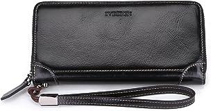 محفظة نسائية من الجلد الأصلي سعة كبيرة من RFID ذات سحاب طويل، منظم لحمل الشمع متعدد البطاقات, اسود