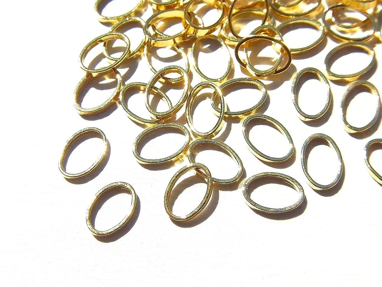 入口逆に並外れて【jewel】ゴールド 立体メタルパーツ 10個入り オーバル 型 (楕円) 直径6mm 厚み1mm 手芸 材料 レジン ネイルアート パーツ 素材