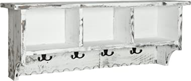 Rustic Cottage Wall Shelf with 8 Coat Hooks and 3 Storage Cubbies, White Antique