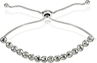 Hoops & Loops Sterling Silver Disco Ball Beaded Adjustable Bolo Bracelet - Available in 3 Metal Colors