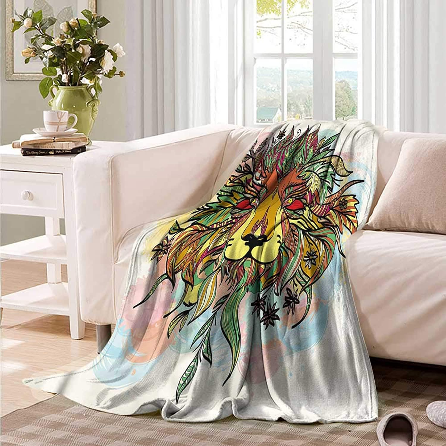Oncegod Baby Blanket Lion Ornamental Floral Animal Head Camping Throw,Office wrap 60  W x 51  L