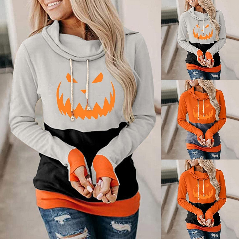 felwors Hoodies for Women, Womens Tunics Tops Halloween Print Casual Hooded Sweatshirt Loose Drawstring Pullover Hoodies