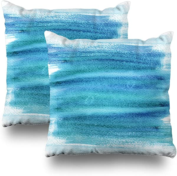 Soopat Decorativepillows Covers 18 X 18 Inch Set Of 2 2 Sides Printed Watercolor Hand Brush Strokes Abstract Blue Light Aquarelle Sky Throw Pillow Cases Pillowcase
