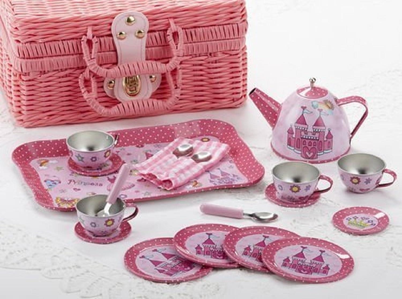 Delton Tin 19 Pcs Tea Set in Basket, Castle