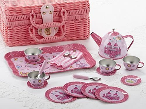 ventas en linea Delton Tin 19 Pcs Tea Set in in in Basket, Castle  entrega rápida