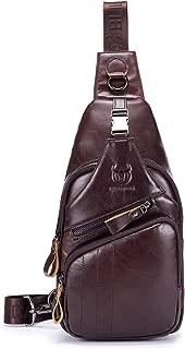 BULLCAPTAIN Men's Sling Backpack Plus Size Genuine Leather Sling Bag for IPAD Travel Hiking Daypack XB-105
