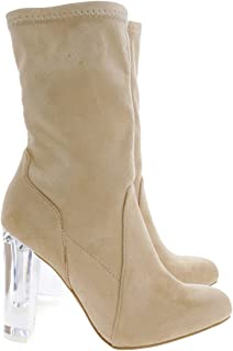 Wild Diva Above Ankle Dress Booties w Clear See Through Acrylic Lucite Block Heel
