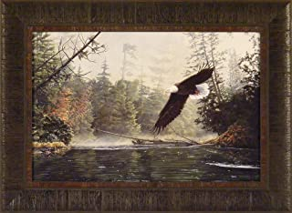 Out of The Mist by Greg Clair 17x23 Flying Soaring Eagle River Framed Art Print Wall Décor Picture