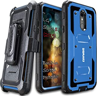 LG Stylo 5 (2019) Case, COVRWARE [ Aegis Series ] with Built-in [Screen Protector] Heavy Duty Full-Body Rugged Holster Armor Case [Belt Swivel Clip][Kickstand], Blue