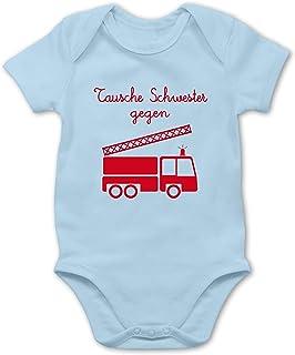 Shirtracer Feuerwehr Baby - Tausche Schwester gegen Feuerwehrauto - Baby Body Kurzarm für Jungen und Mädchen