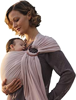 Nalakai Luxury Ring Sling Baby Carrier – Extra-Soft Bamboo and Linen Fabric - Lightweight wrap - for Newborns, Infants and Toddlers - Perfect Baby Shower Gift - Nursing Cover (Warm Sand)