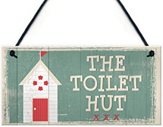 The Toilet Hut Shabby Chic Bathroom Toilet Wall Sign Vintage Seaside Plaque Beach Nautical Gifts Wooden Hanging Plaque Sign for Home Decorative