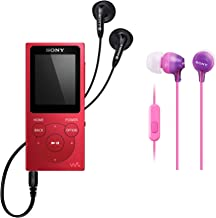 $79 » Sony NW-E394 8GB Walkman Audio Player (Red) with Sony MDR-EX15AP Fashion Color EX Series in-Ear Headphones Bundle (2 Items)