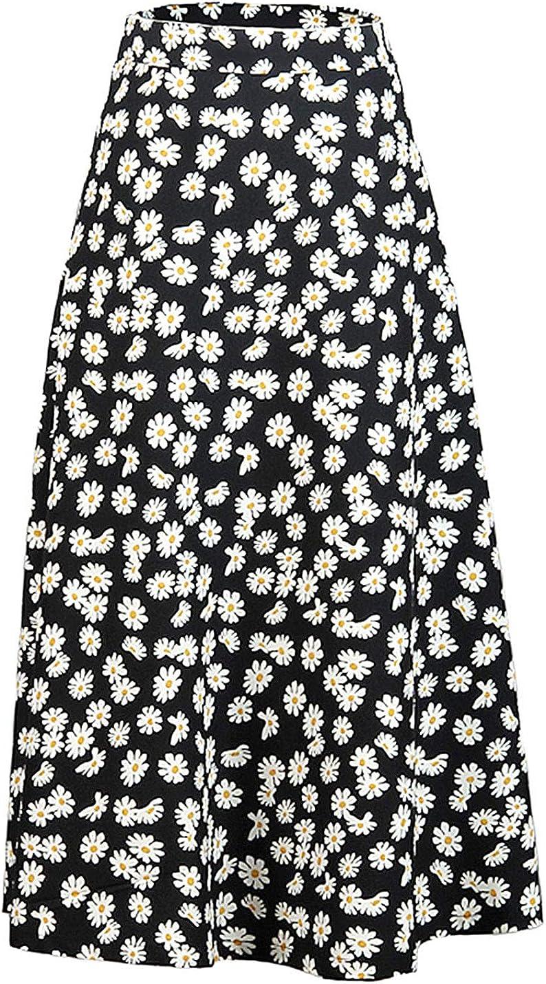 Uaneo Women's Boho Floral Print High Waist A Line Swing Midi Casual Skirt(Black-XS)