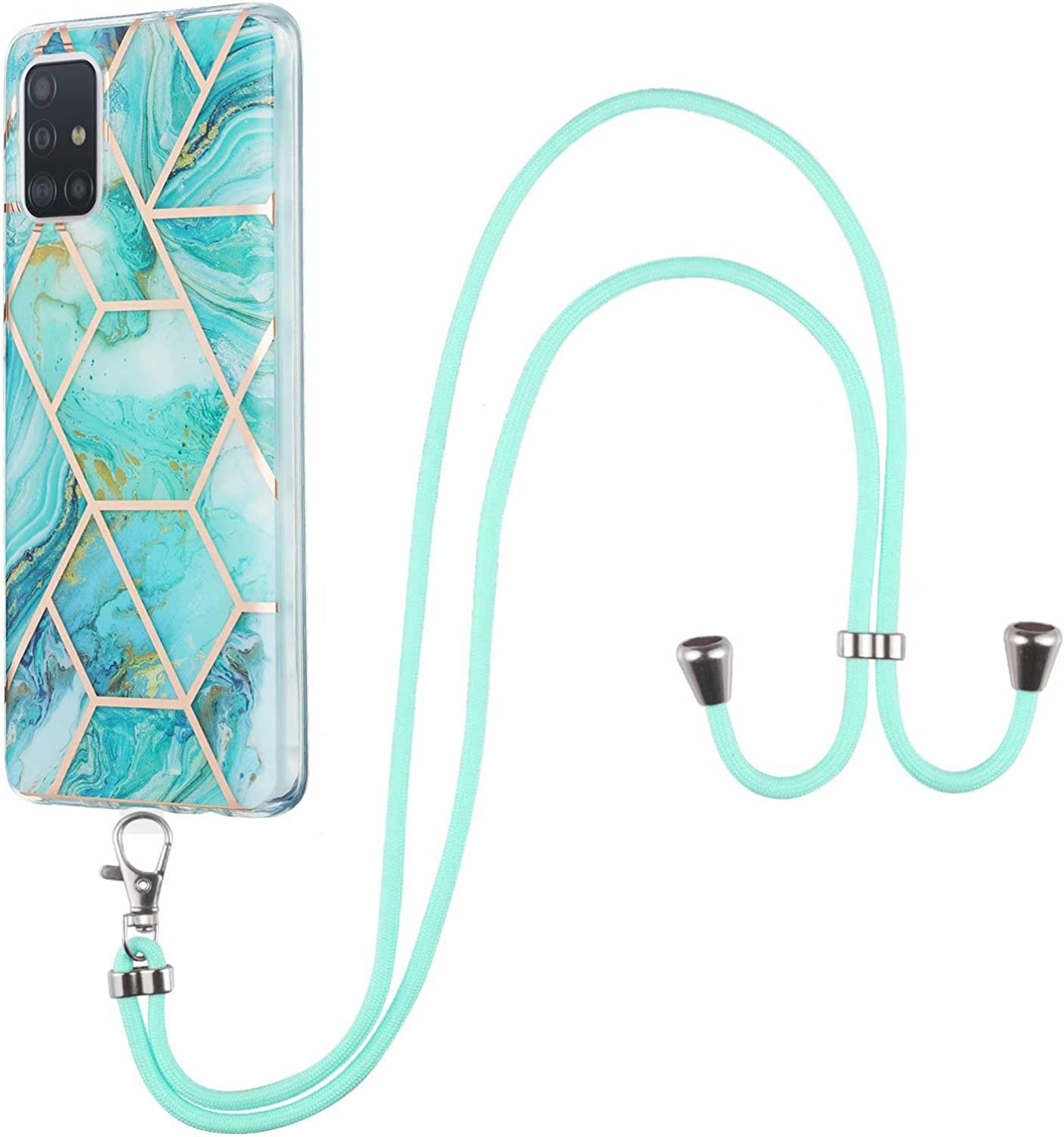 MTQLX Crossbody Case Compatible with Motorola Moto Moto G Power (2021) Marble Splicing TPU Cell Phone Mobile Cover Holder with Neck Cord Lanyard Strap Protective Cover for Women(Blue)