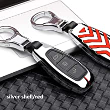 FPO&FGL Cubierta de la Llave del Coche Aleación de Zinc Car Styling Remote Key Case para Ford Focus 3 4 Mondeo MK3 MK4 Kuga Escape Edga 2017 2016 2015 2014 2013 Key Bag, B Silver Red