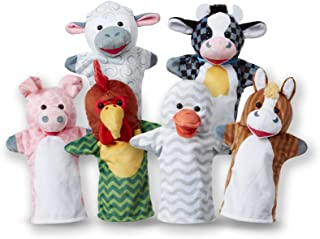 Melissa & Doug Barn Buddies Hand Puppets, Set of 6 (Cow, Sheep, Horse, Duck, Chicken, Pig)