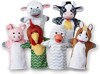 Melissa & Doug - Marionnettes amis de la ferme, lot de 6 (vache, mouton, cheval, canard, poulet, cochon)