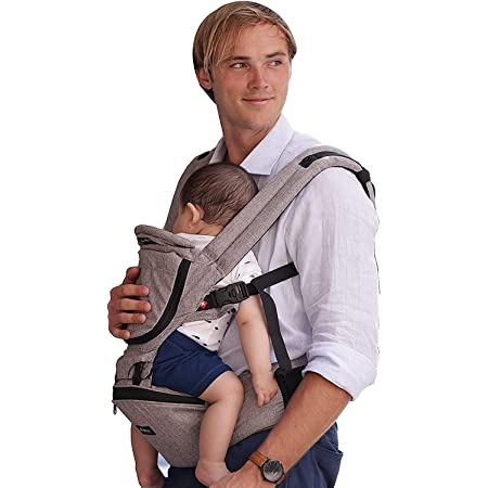 MiaMily Baby Carrier with Hip Seat, Ergonomic Hipster Plus 6 in 1 Front and Back, Lumbar Support, for Newborn to Toddler, Built-in Storage, Infant & Child Carrier, Stone Grey