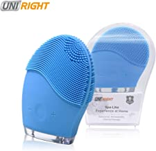 Facial Cleansing Brush for Deep Face Exfoliator, Uni-Right Silicone Face Massager Reducing Acne for Face Spa Skin Care Scrubbing and Anti-Aging (Blue)