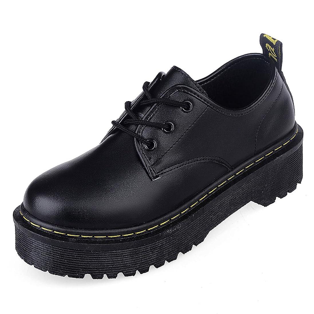 銃爆発するクローゼット[CHNHIRA]レディース 厚底靴 皮靴 パンプス 履きやすい フラット 身長アップ ひも ブラック PUエナメル調