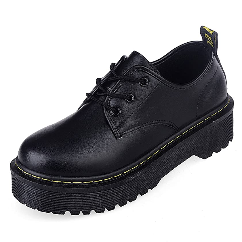 移植ラフレシアアルノルディカップ[CHNHIRA]レディース 厚底靴 皮靴 パンプス 履きやすい フラット 身長アップ ひも ブラック PUエナメル調