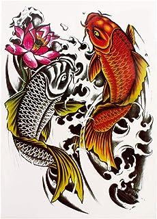 1 x karper vis body tattoo - eenmalig kleurrijke tijdelijke fake tattoo HB343 (1)