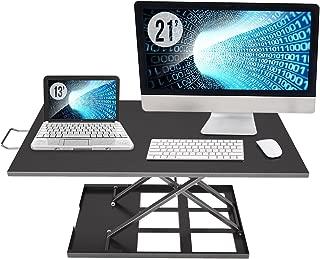 Standing Desk Converter Adjustable Height - Sit to Stand Up Desktop Table Riser - Rising Portable Black Tabletop Workstation for Computer Laptop Notebook - Best Office Exercise Work Station
