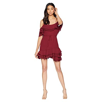 BB Dakota Up All Night Layered Ruffle Dress (Maroon) Women