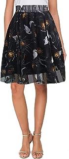 Womens Chiffon Floral Elastic High Waist Pleated Skater Knee Length Skirt