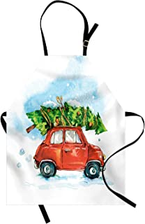 Miss Sweetheart Cars Apron, Christmas Tree on The Top of a Small Vintage Automobile Joyful Holiday Winter Time, Funny Kitchen Aprons Men Women Kids High Waist Apron, Multicolor