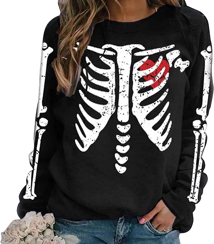 Sumtory Women Halloween Theme Skeleton Print Long Sleeve Swearshirt Tops