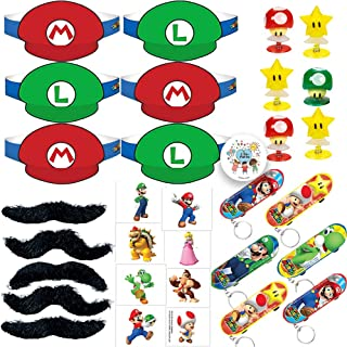 Super Mario Bros Birthday Party Favors Pack For 12 Guests With Super Mario and Luigi Paper Visor Hats, Mustaches, Tattoos, Skateboard Key Chains, Pop Up Mushrooms and Stars Toys, and Exclusive Birthday Pin