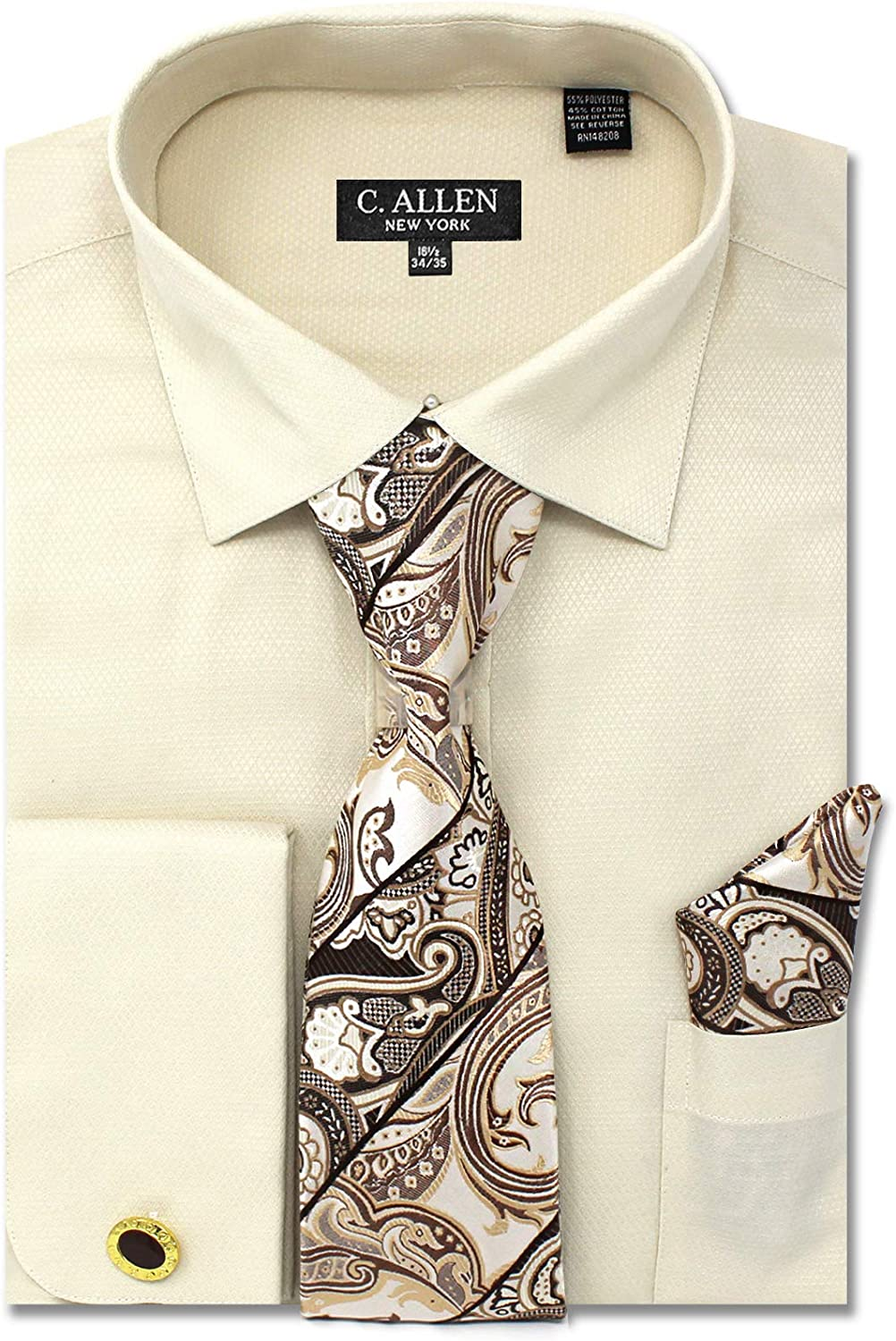 Men's Solid Micro Pattern Regular Fit French Cuffs Dress Shirts with Tie Hanky Cufflinks Combo