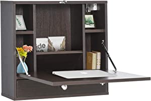 HOMCOM Wall Mounted Writing Computer Desk Workstation with Foldable Space Saving Design & Ample Interior Storage Coffee