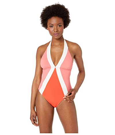 Vince Camuto Color Block Halter One-Piece with Removable Soft Cups (Koi) Women