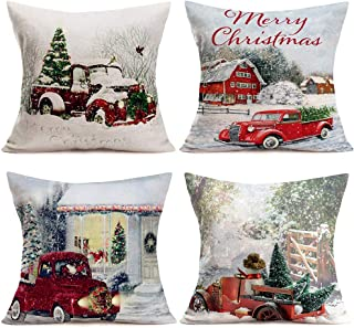 ShareJ Set of 4 Red Truck and Merry Christmas Tree Throw Pillow Covers Cotton Linen Square Pillow Case Cushion Cover Winter Snow Background Home Decorative for Sofa 18''x18''