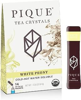 Pique Tea Organic White Peony Tea Crystals - Gut Health, Fasting, Calm - 1 Pack (14 sticks)